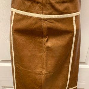 Vintage Michael Kors Cognac Leather Skirt Size 4.